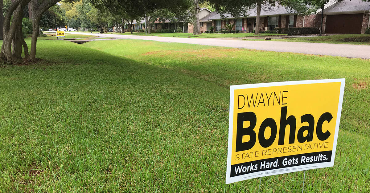 Bohac yard sign in Houston