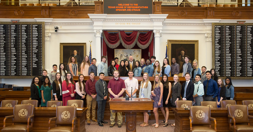 Rep. Bohac hosts students on the floor of the Texas House of Representatives